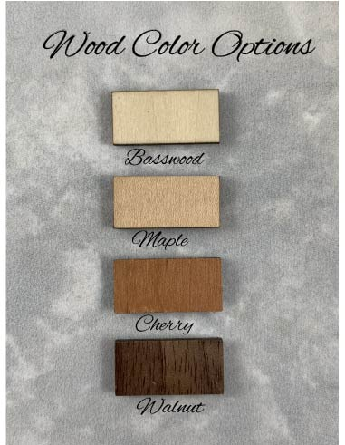 wood color options light basswood medium maple reddish cherry and dark walnut