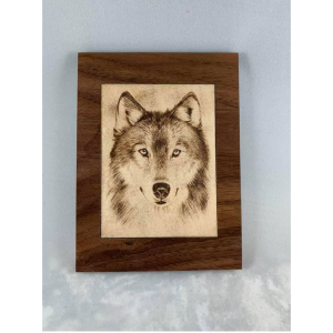laser engraved wooden wolf photo