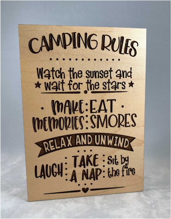 laser engraved wood camping rules watch the sunset and wait for the stars etc