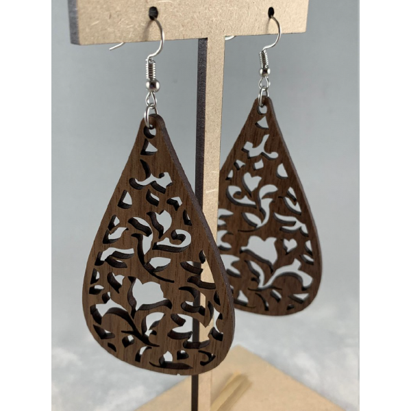 laser engraved wooden earrings